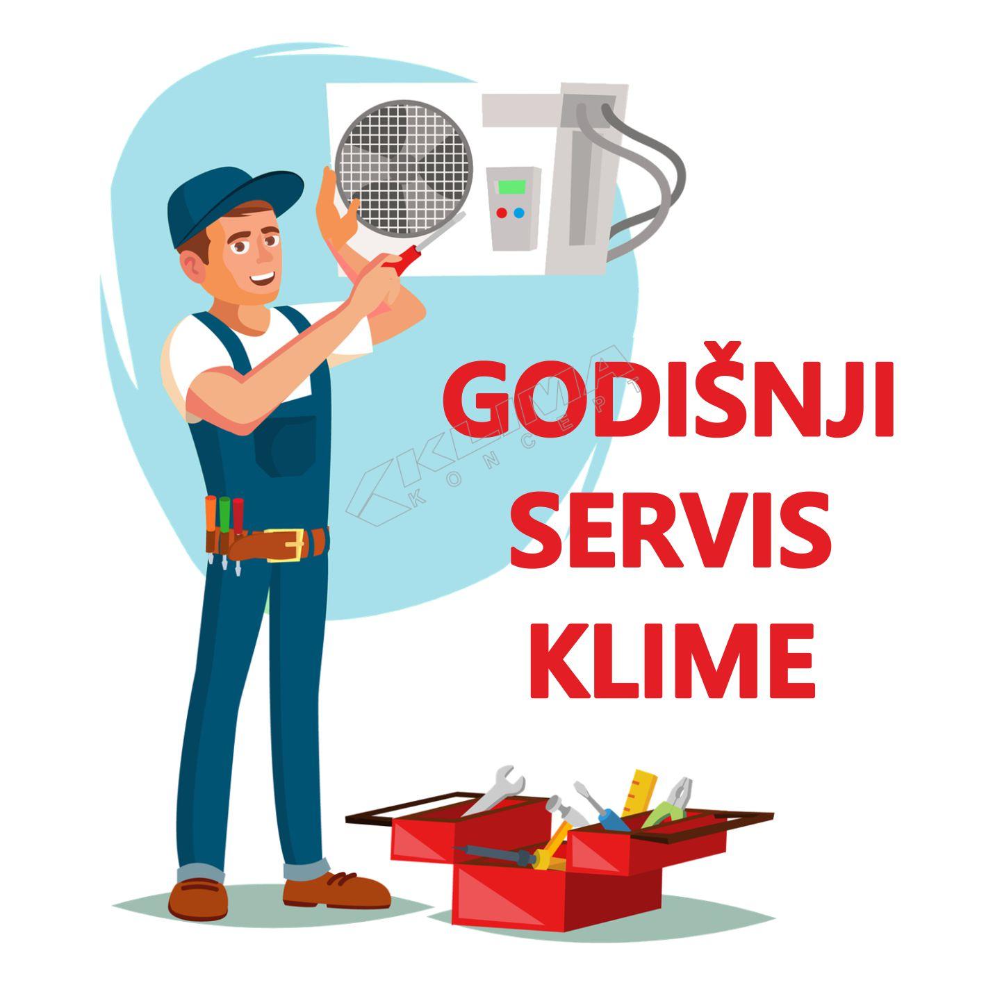 GODIŠNJI SERVIS-ČIŠĆENJE ZIDNOG MONO SPLIT KLIMA UREĐAJA SNAGE DO 5,5 - 8 kW